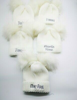 personalised baby  double  LARGE POM POMS  beanie embroidered hat