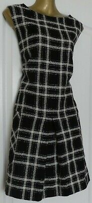 Hobbs Finest Italian Cloth black & white dogtooth 60's style dress size 16