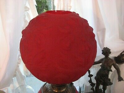 Gwtw Satin Ruby Red Ball Oil Lamp Globe Shade 10 1/2 ' W/4' Fitter