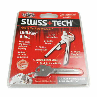 Stainless Steel Swiss+Tech Utili-Key 6-in-1 Tool Keychain EDC Pocket Multi Tools