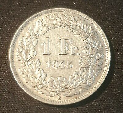 Switzerland 1945B One Franc Silver Coin