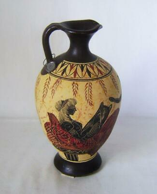 Vintage Museum Copy Ancient Greek Black Figure Jug Olpe Vase