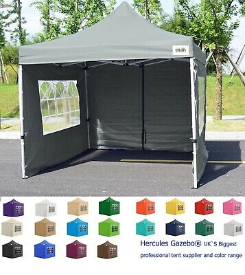 HERCULES GREY Titan Gazebo® Steel Hex 40 Pop Up Marquee Tent, 3m x 3m Heavy Duty