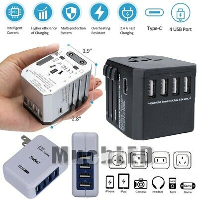 800W Universal Travel Adapter Wall Charger AC Power Converter US UK AU EU w/4USB