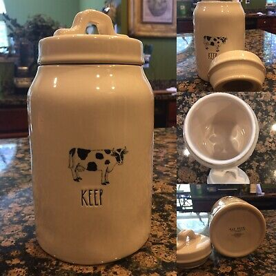 """Rae Dunn Artisan Collection """"KEEP"""" Cow 8.5"""" Canister By Magenta 🌟RARE🌟"""