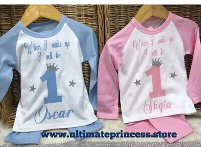 When I Wake Up I Will Be Baby pyjamas girls or boys any design Pink Blue Soft