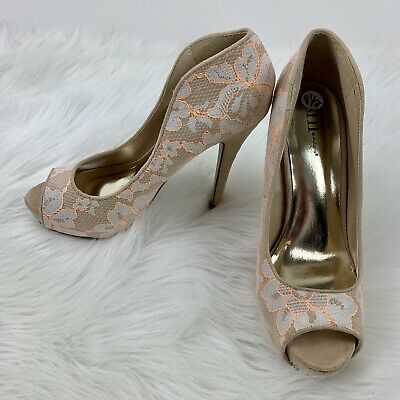 Shi by JOURNEYS Shoes | Gold Lace High Heels | Poshmark