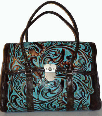 Patricia Nash Tooled Turquoise Vienna Leather Satchel NWT $249