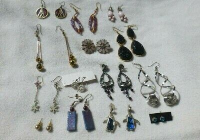 Job Lot Bundle Of 14 Mixed Pairs Of Costume Jewellery Earrings