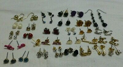 Bundle Job Lot Of 29 Mixed Pairs Of Costume Jewellery Earrings