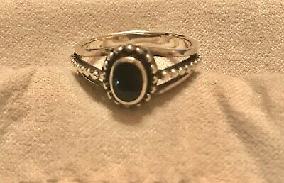 Beautiful 925 Silver Ring With Black Onyx Stone. Size 6