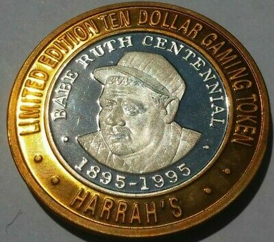 Casino Silver Strike $10 Gaming Token Harrahs Reno Babe Ruth Centennial