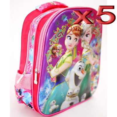 5pc Wholesale Kids Children Girls 4D Frozen Backpack Bags 27x33cm