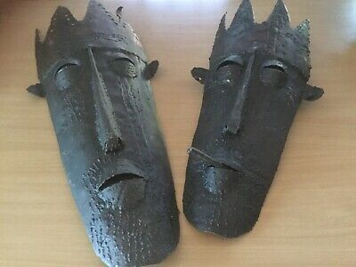 Pair Of Metal African Masks
