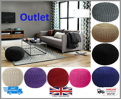100% Cotton Large Knitted Pouffe Chunky Knit Foot Stool Cushion Moroccan Seats