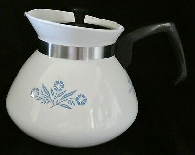 Vintage Corning Ware Blue Cornflower 6 Cup Coffee /Tea Pot with Lid