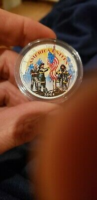 2001 Us American Heroes Eagle Colorized Silver Dollar Coa Police Fire  Capsule,