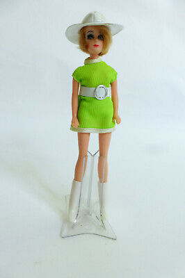 Vintage Topper Dawn JESSICA Doll in Mod Neon Green Mini Outfit 1970s