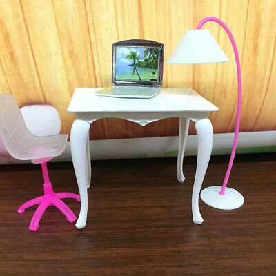 4PCS Barbie Doll Laptop Chair Desk Lamp Kit Home Furniture Girl Play House Decor