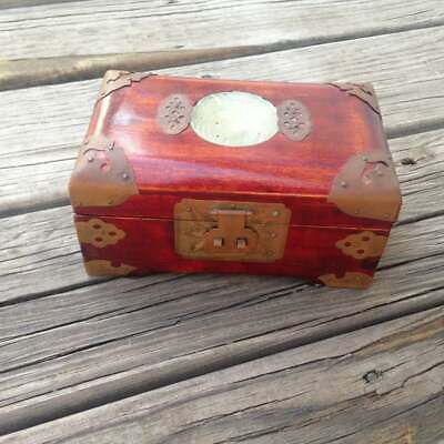Vtg Shanghai China Jewelry Box in Rosewood with Brass and Jade Medallion on Lid