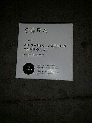 Cora Organic Cotton Tampons with Compact Applicator - Super 18 Count Pack S3