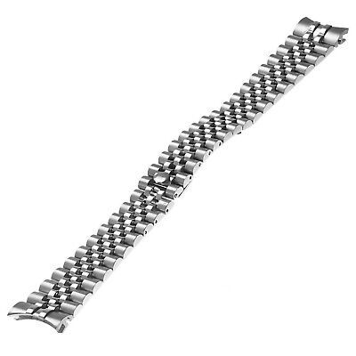 20mm Jubilee Band Solid Stainless Steel Watch Bracelet Curved End