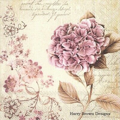 4 Paper Napkins / Serviettes for Decoupage / Parties /Weddings - Romantic Flower