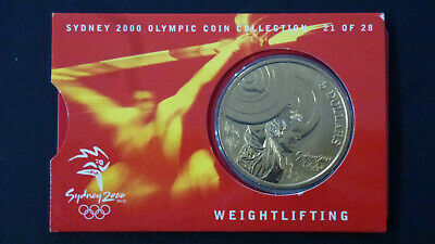 Sydney 2000 Olympic Coin Collection, $5 UNC RAM Coin - WEIGHTLIFTING 21/28