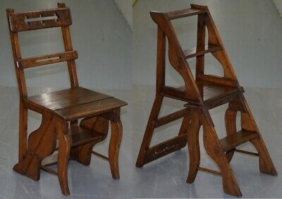 English Oak Library Chair Metamorphic Steps Circa 1890 Arts & Crafts Hand Made