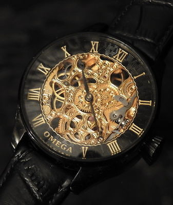 OMEGA Swiss Rare collectable Stainless Steel PVD Skeleton Men's wristwatch 48mm