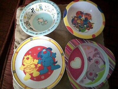 Collection of Melamine Dishes, Plates and Egg Plate - Tweenies & Peter Rabbit