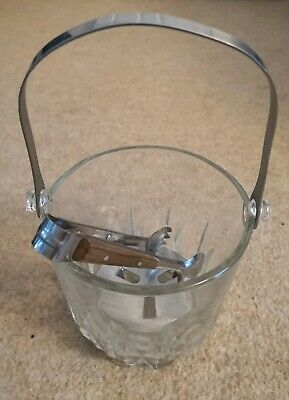 Glass Small Ice Bucket and Tongs Carry Handle Whisky Vintage Retro Crystal