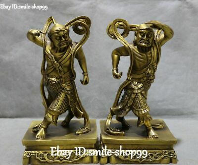 Unique China Pure Bronze Dragon Lion Beast Hengha Two Door-God Statue Pair
