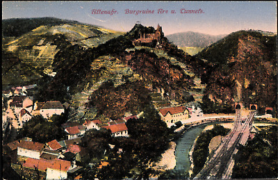 Germany Altenahr Village View with Train Lines Early Postcard B231