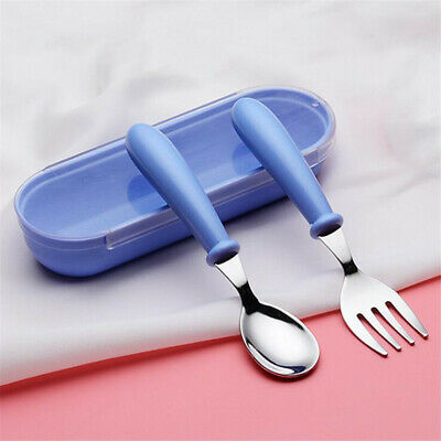 Cartoon Stainless Steel Spoon Fork Cutlery Set For Infants Toddlers Baby Tool LA