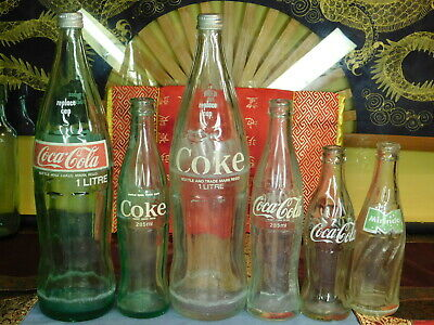 ANTIQUE TO VINTAGE PYREX COCA COLA COLLECTABLES LOT OF X 6  OLD BOTTLES 1960's