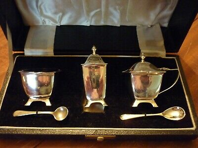 Solid Silver Cruet Set Art Deco