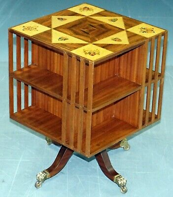 Mahogany & Maple Revolving Library Bookcase With Inlaid Royal Armorial Crests
