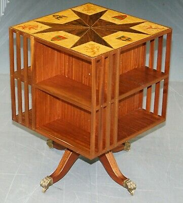 1 Of 2 Rosewood & Maple Revolving Library Bookcases Inlaid Royal Armorial Crests