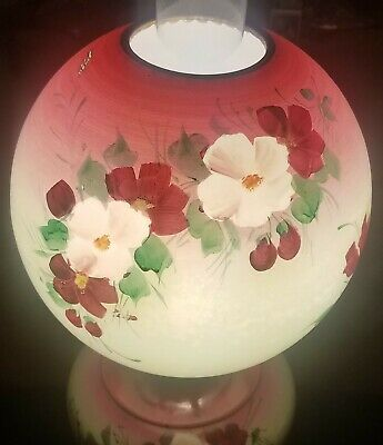 """Antique Victorian Gone with The Wind Hand Painted Electric Parlor Lamp 20"""" Tall"""