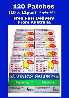 120 x Genuine Salonpas Hisamitsu Pain Patches Relieving Arthritis -10 X 12 Packs