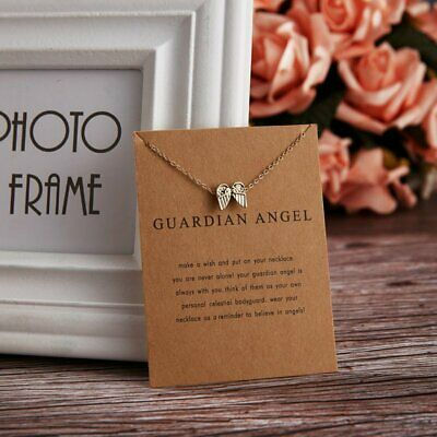 Simple Gold Guardian Angel Wing Charm Pendant Necklace Womens Jewellery Gifts