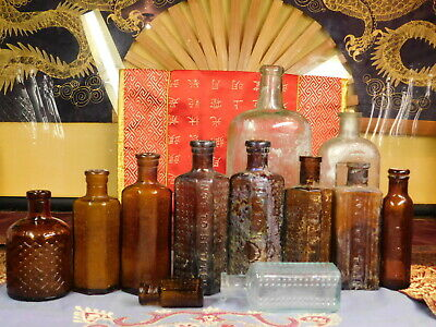 ANTIQUE BOTTLE COFFIN POISON COLLECTION LOT OF 12 OLD BOTTLE 1880's TO 1900's