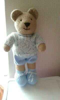 """Hand Knitted Beige Teddy Bear """"Blue Outfit"""""""