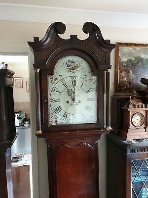 A Georgian 8 day Antique Oak & Inlaid Longcase Tallcase Grandfather Clock C1800