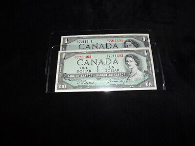 Bank Of Canada 2X1954 $1.00 Notes Consecutive Serial Numbers