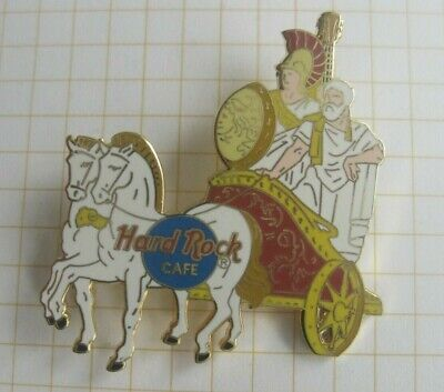 HARD ROCK CAFE CAFE ATHENS MEN RIDING IN GREEK CHARIOT w. HORSES  ..HRC Pin 192d