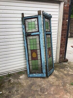 Vintage Antique Leaded Stained Glass Window Panels X 2 (Edwardian/Victorian)