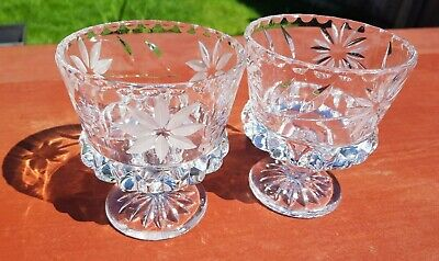 Vintage Heavy Cut and Etched Glass Sherbert Dish Footed Dessert Bowls