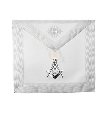 Masonic Blue Lodge White Machine Embroidery Apron with square compass with G